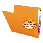 Smead End Tab Folders, Double Ply Straight Cut Tab, Letter Size, Orange, 100/Box