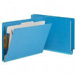 Smead Colored End Tab Classification Folders with 1 Divider, Letter Size, Blue, 10/Box