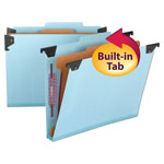 Smead Hanging Classification Folder, 4 Section, Blue Pressboard, Letter