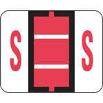 Smead A Z Color Coded Bar Style End Tab Filing Labels, Pink, Letter S, 500/Roll