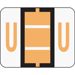 Smead A Z Color Coded Bar Style End Tab Filing Label, Light Orange, Letter U, 500/Roll