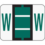 Smead A Z Color Coded Bar Style End Tab Filing Labels, Dark Green, Letter W, 500/Roll