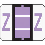 Smead A Z Color Coded Bar Style End Tab Filing Labels, Lavender, Letter Z, 500/Roll