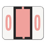 Smead Single Digit Numerical End Tab White Labels in Dispenser Box, Pink #0, 500/Roll