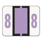Smead Single Digit Numerical End Tab White Labels in Dispenser, Lavender #8, 500/Roll