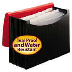 Smead Poly Frequency Expanding File, 12 Pockets, Black/Red Flap
