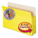 "Smead Colored File Pocket, Legal, Straight Cut, 3 1/2"" Expansion, Yellow"