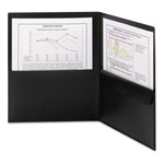 Smead Poly Two-Pocket Folder w/Security Pocket, 11 x 8 1/2, Black, 5/Pack
