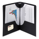 Smead Lockit Two-Pocket Folder, Leatherette Stock, 11 x 8-1/2, Black