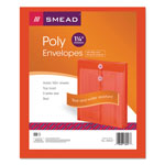 Smead Expandable Poly String Tie Envelopes, Top Load, Red