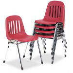 Consolidated Stamp Graduate Series Commercial Stack Chairs, Burgundy/Chrome, 5/Carton