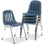 Consolidated Stamp Graduate Series Commercial Stack Chairs, Navy/Chrome, 5/Ctn