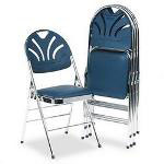 Consolidated Stamp Fanfare Padded Seat/Molded Back Folding Chair, Chrome Frame, Slate Blue Vinyl