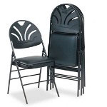 Consolidated Stamp XL FANFARE Vinyl Padded Seat/Molded Back Folding Chair, Black