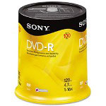 Sony DVD-R Discs, 4.7GB, 16x, 100/Pack