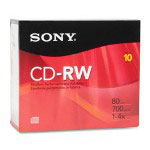 Sony CD-RW, 700MB/80 Min, 10/Pack, Slim Jewel Case