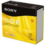 Sony DVD-R Discs, 4.7GB, 16x, 10/Pack