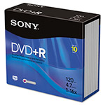 Sony DVD+R Discs, 4.7GB, 16x, 10/Pack