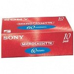 Sony Micro Cassette, Compact, 60 Minute, 10/Pack