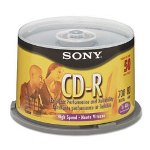 Sony CD-R Discs, 48X, 700Mb/80Min, Branded Surface, Spindle, Silver