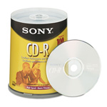 Sony CD R Discs, 48x, 700MB/80Min, Branded Surface, Spindle, Silver, 100/Pack