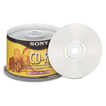 Sony CD R Discs, 48x, 700MB/80Min, Branded Surface, Spindle, Silver, 50/Pack