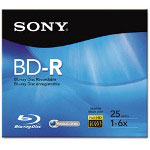 Sony BD-R Disc, Recordable, 4x, 25GB, Single Layer, Silver