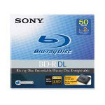 Sony BD-R Dual Layer Disk, w/Case, Recordable, 72 Mbps Speed, 50GB