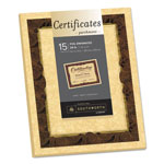 Southworth Foil-Enhanced Parchment Certificates, Brown w/Brown/Gold Foil,8 1/2x11, 15/Pack