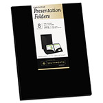 Southworth Two-Pocket Presentation Folders, 9 x 12, Black, 8/Pack