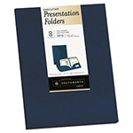 Southworth Two-Pocket Presentation Folders, 9 x 12, Navy, 8/Pack