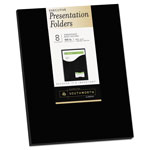 Southworth One-Pocket Presentation Folders, 9 x 12, Black, 8/Pack
