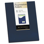 Southworth One-Pocket Presentation Folders, 9 x 12, Navy, 8/Pack