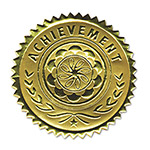 "Southworth Seal, Foil, "" Achievement, "" 1 1/4"" x 2"" 12/Pack, Gold"
