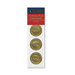 "Southworth Foil Certificate Seals, Self Adhesive, 1 1/4"", Medallion Embossed, Gold, 12/Pack"