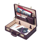 "Sparco Expanding Leather Attaché Case, 18""Wx4"" 5""Dx13""H, Burgundy"
