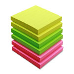 "Sparco Adhesive Note Pads, Ruled, 3""x3"", Assorted Bright Colors"