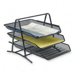 "Sparco 3 Tier Desk Tray, Steel Mesh, 10 3/4""x14 1/4""x11"", BK"