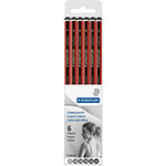 Staedtler Tradition Soft Drawing Pencil Set, 6-Piece, Red/Black