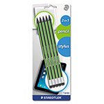 Staedtler Wopex Pencil with Stylus, Green/Black, 5/Pk