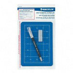"Staedtler Cutting Mat Set, with Art Knife & Extra Blades,3mm Thick,5""x7"""