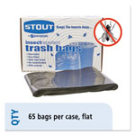 "Stout Insect Repellent Black Trash Bags, 45 Gallon, 2 Mil, 40"" X 45"", Box of 65"