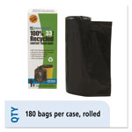 Stout Recycled Plastic Trash Bags, 33 gal, 1.3 mil, 33 x 40, Black