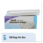Stout Envision Zipper Seal Closure Bags, Clear, 12 x 12, 500/Carton