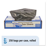 "Stout Recycled Brown Trash Bags, 10 Gallon, 1 Mil, 24"" X 24"", Case of 250"