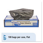 "Stout Recycled Brown Trash Bags, 65 Gallon, 1.5 Mil, 50"" X 51"", Case of 100"