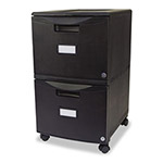 Storex Two-Drawer Mobile Filing Cabinet, Black