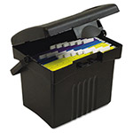 Storex Portable File Box, Letter Size, 14w x 11-1/4d x 14-1/2h, Supply Compartment, BK