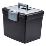 Storex Portable File Box With Large Organizer Lid, 13 1/4 X 10 7/8 X 11, Black