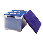 Storex Plastic File Tote, Letter/Legal Size, 14-1/2w x 19d x 11-5/16h, Snap on Lid, CLR